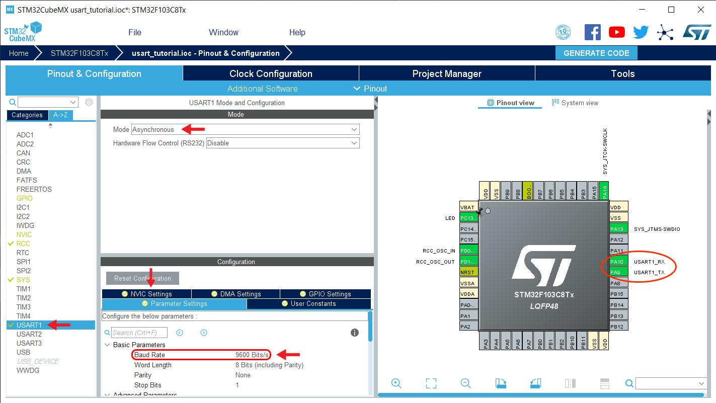 تنظیمات نرم افزار STM32CubeMX - دیجی اسپارک