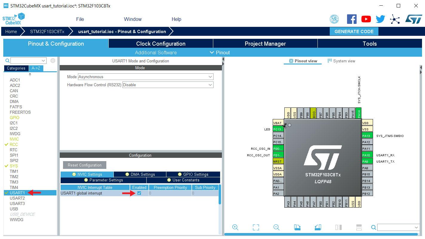 فعال سازی USART در نرم افزار STM32CubeMX - دیجی اسپارک