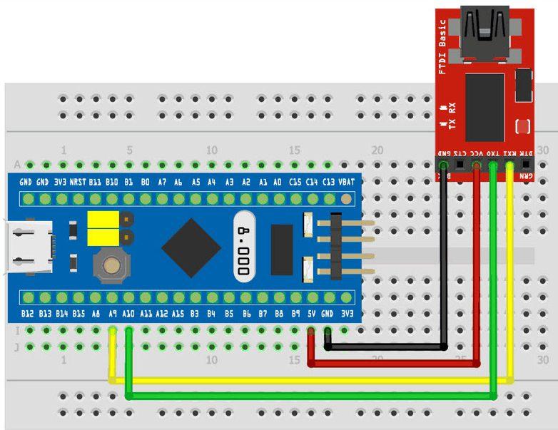 اتصالات برد STM32 به usb to ttl - دیجی اسپارک