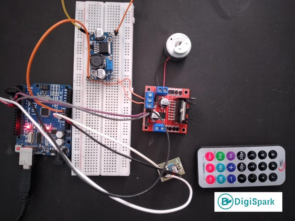 اتصالات پروژه کنترل دور و جهت موتور آرمیچر DC با ریموت مادون قرمز آردوینو - دیجی اسپارک