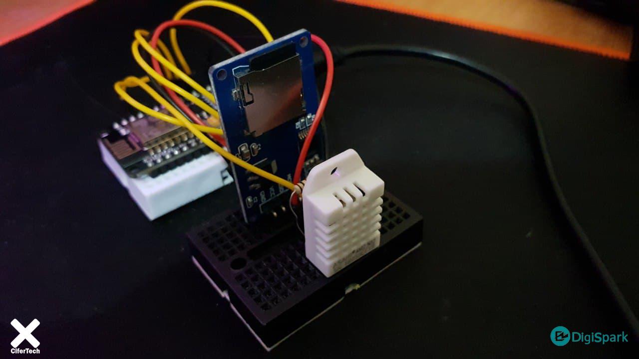 پروژه دیتالاگر Nodemcu با سنسور DHT22 و ماژول SD card - دیجی اسپارک