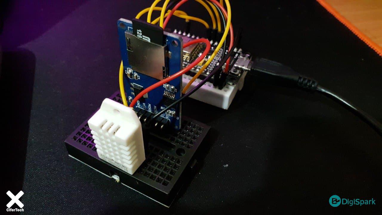 دیتا لاگر Nodemcu با سنسور دما رطوبت DHT22 و ماژول SD card - دیجی اسپارک