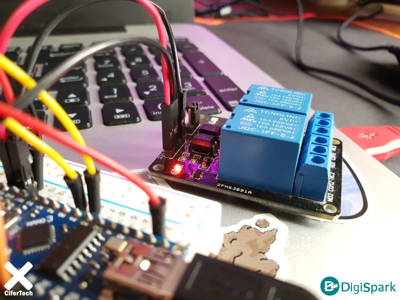 اتصالات ماژول رله دو کانال در پروژه کنترل وسایل برقی با سنسور تاچ - دیجی اسپارک