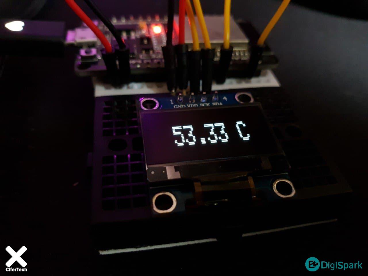 پروژه دماسنج با سنسور داخلی برد ESP32 و OLED - دیجی اسپارک