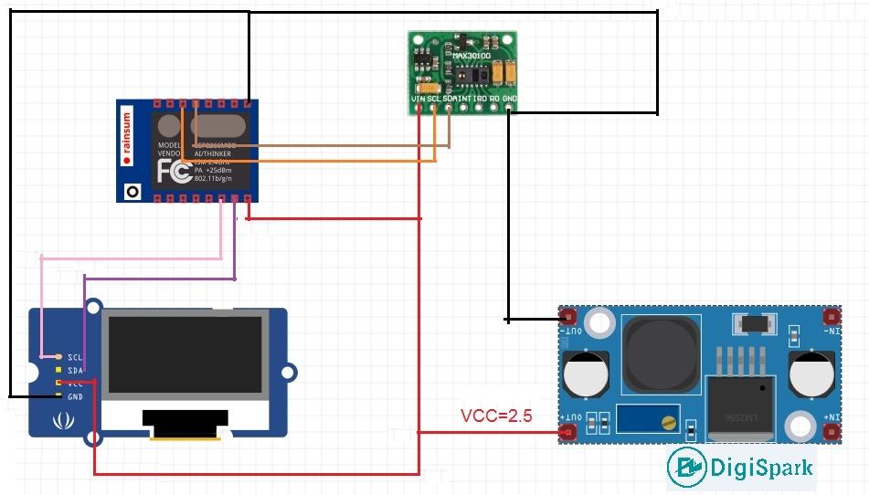اتصالات مدار پالس اکسی متر با ESP8266 و ماژول Max30100 - دیجی اسپارک
