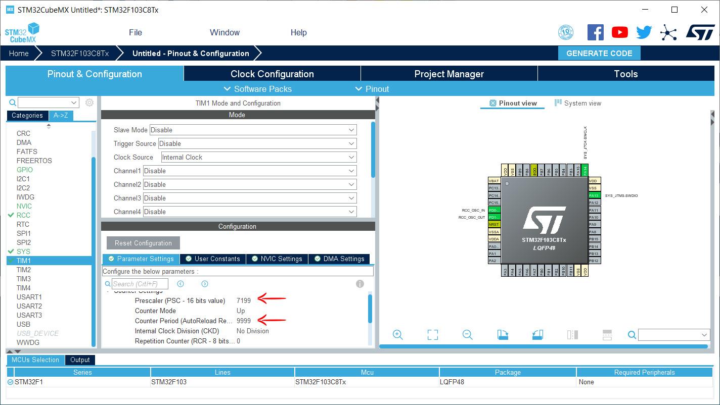 بخش دوم تایمر STM32 در نرم افزار STM32CubeMX - دیجی اسپارک
