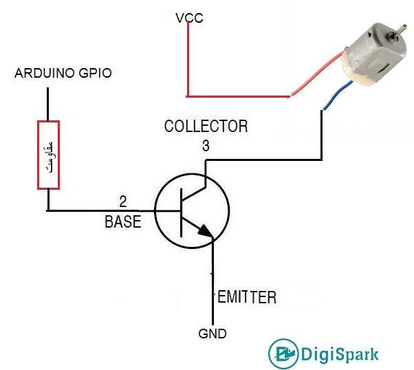 اتصال ترانزیستور BJT به بردهای آردوینو - دیجی اسپارک