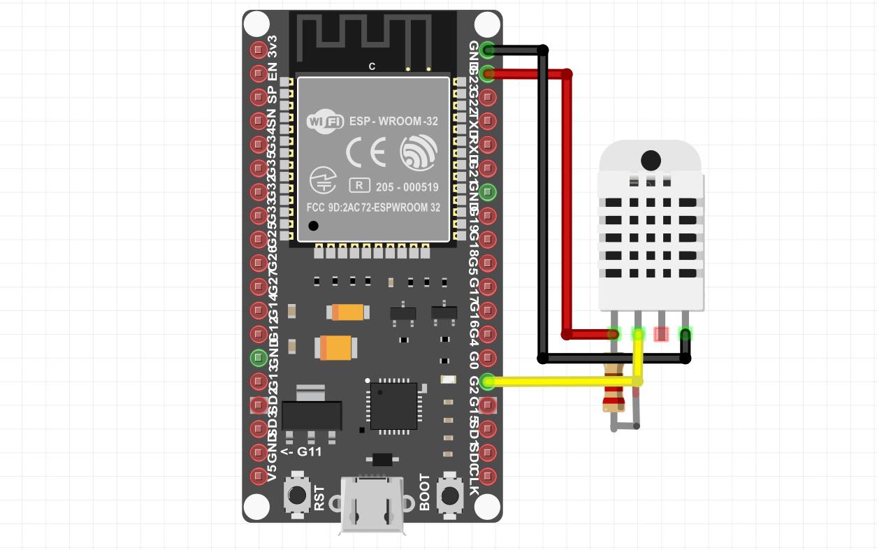 اتصالات سنسور DHT22 به برد ESP32 - دیجی اسپارک