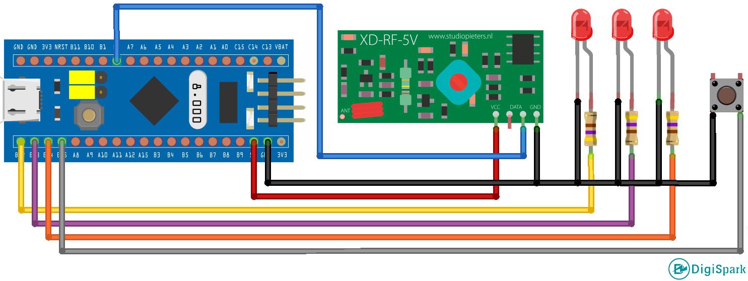 شماتیک پروژه ریموت کنترل ASK با برد STM32 - دیجی اسپارک