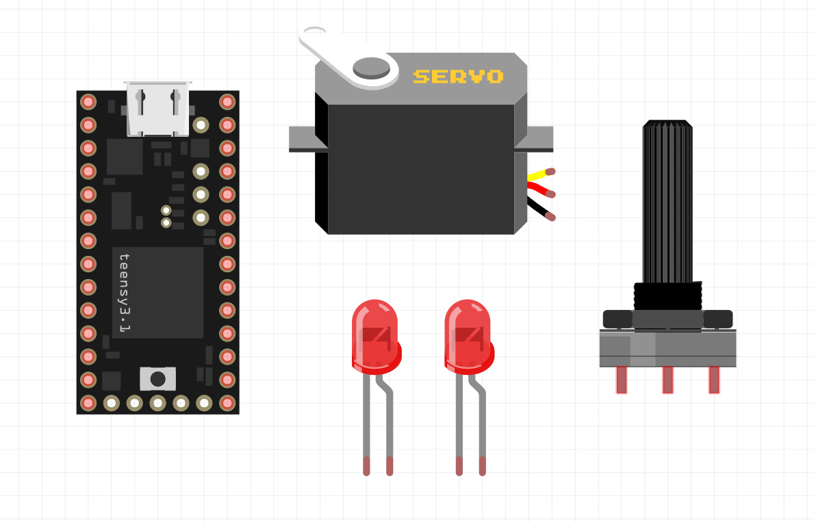 Starting SG90 servo and LED with PWM signal in Teency board