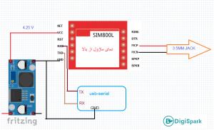 شماتیک پروژه تماس تبلیغاتی تلفنی با SIm800L - دیجی اسپارک