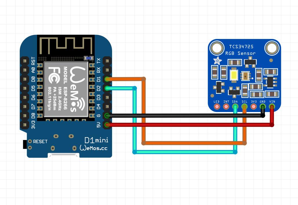 شماتیک اتصالات سنسور TC34725 به برد Wemos D1 mini - دیجی اسپارک