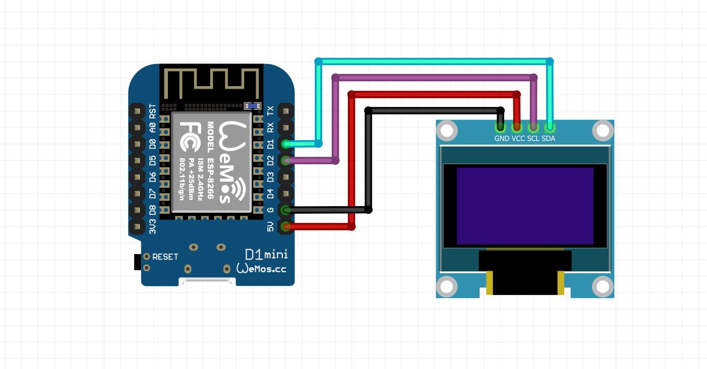شماتیک اتصالات برد Wemos و نمایشگر Oled - دیجی اسپارک