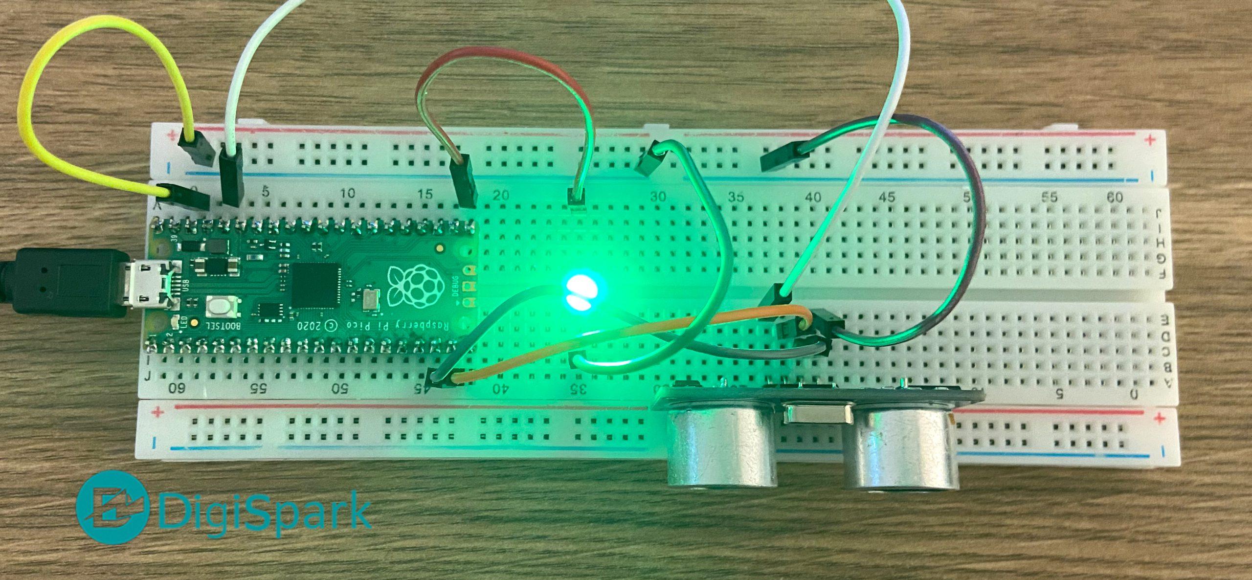 راه اندازی سنسور فاصله سنج آلتراسونیک SRF با رزبری پای پیکو - دیجی اسپارک