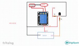 شماتیک و اتصالات مدار سنسور راه پله - دیجی اسپارک