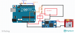 شماتیک اتصالات پروژه هشدار ولتاژ باتری خودرو با پیامک Sim800L - دیجی اسپارک