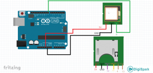 شماتیک اتصالات دیتالاگر GPS آردوینو - دیجی اسپارک